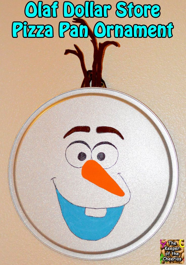 The Keeper of the Cheerios: Olaf Dollar Store Pizza Pan Ornament. This is hilarious and adorable!