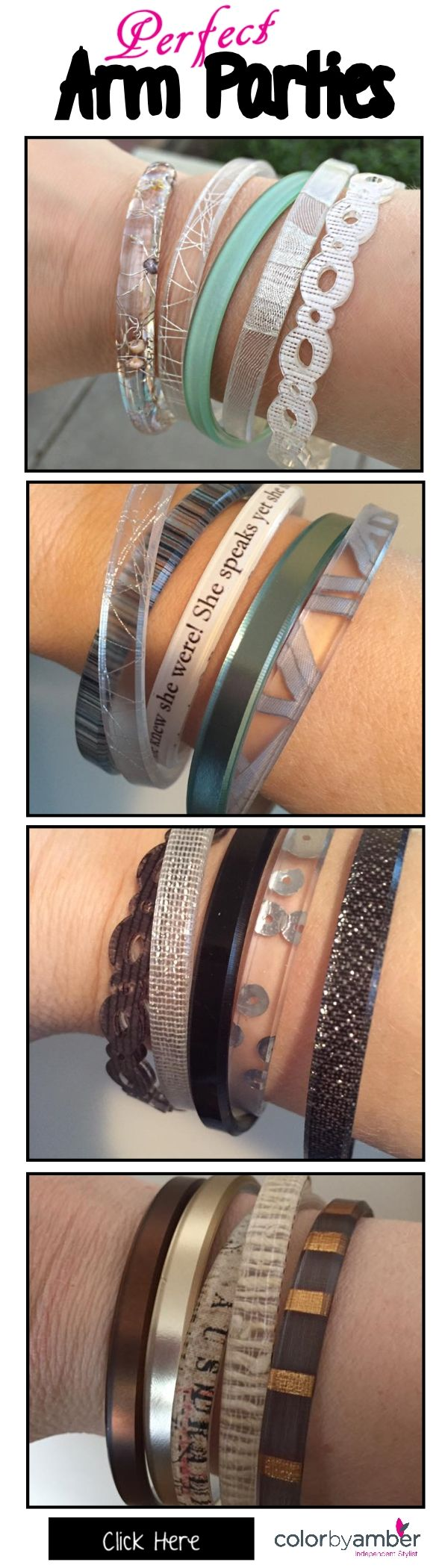 Create your perfect arm party at Color by Amber. We have 100 skinnies to choose from, starting at $14.50 CAD each. https://candicehealing.mycolorbyamber.com   jewelry, bracelets, women's fashion, ecofriendly, unique, color by amber