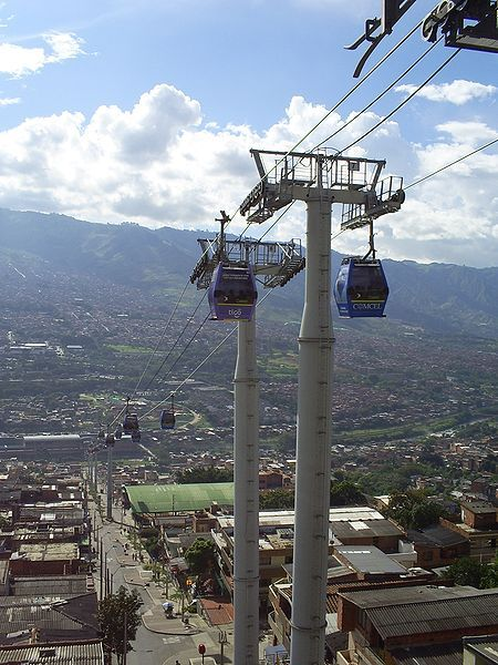 Metrocable gondola lift system in Medellin, Colombia. First gondola lift used for mass transportation purposes