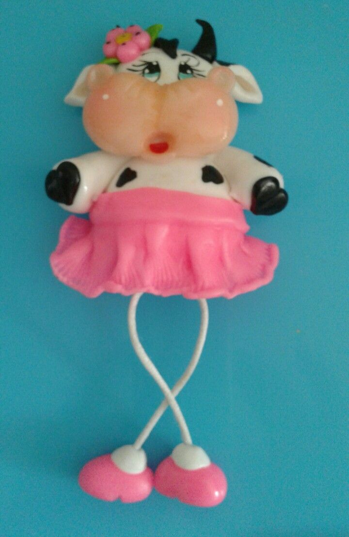 Vaquita iman grande para decorar tu nevera ..porcelana fria