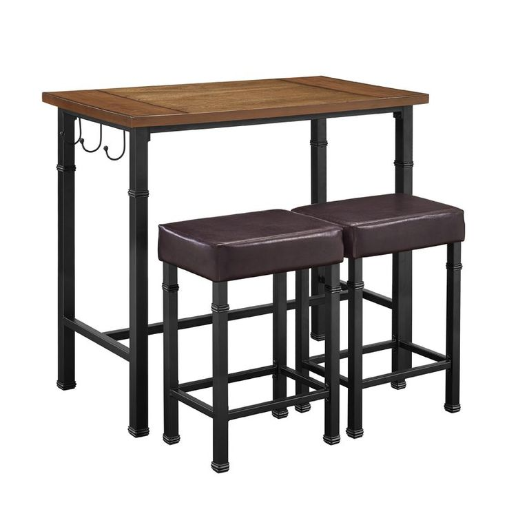 Rustic And Industrial In Style And Design, The 3 Piece Pub Table Set Is  Perfect For Small Dining Rooms And Kitchen Breakfast Nooks.