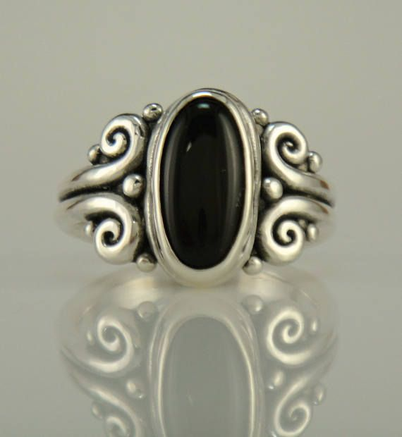 R1111  Sterling Silver Black Onyx Ring One of a Kind