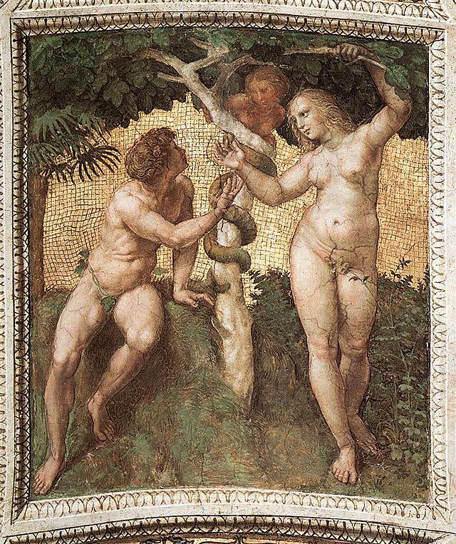 RAFFAELLO. Adamo ed Eva. Affresco databile al 1508 e di dimensioni 120x105 cm. Fa parte della decorazione della volta della Stanza della Segnatura nei Musei Vaticani.