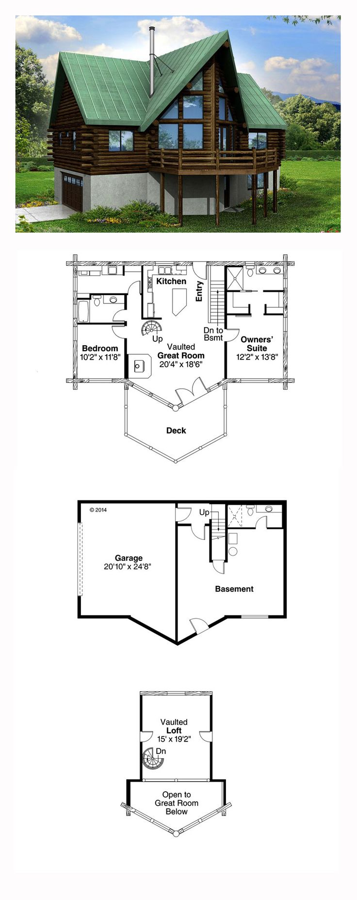 A-Frame House Plan 41165 | Total Living Area: 1568 sq. ft., 2 bedrooms and 2.5 bathrooms. #aframe