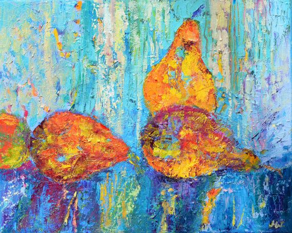 Textured painting 3 pears impasto painting Palette by TanabeStudio