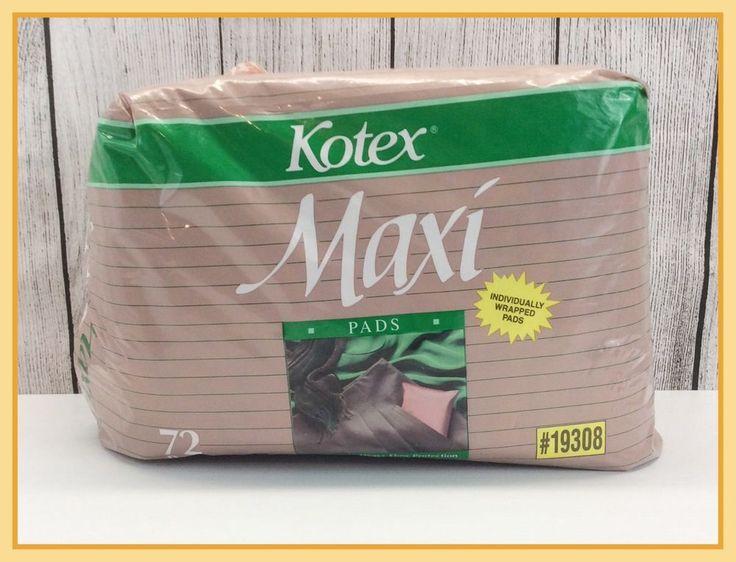 1989 Vintage Kotex Maxi Pads Sanitary Feminine Napkins 72 Sealed Packages  #Kotex