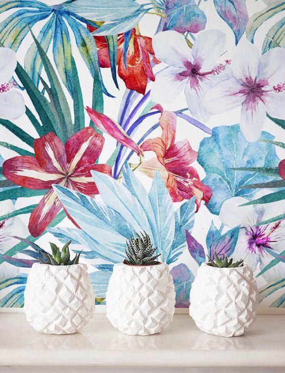 Watercolor Floral Wallpaper, Removable Wallpaper, Self-adhesive Wallpaper…