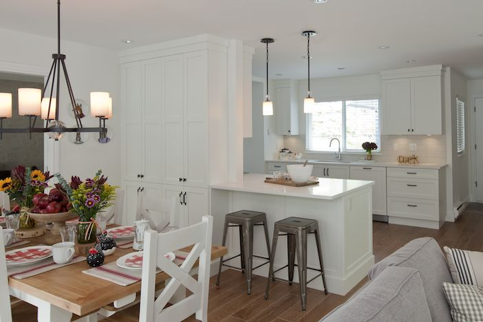 Like this layout. Not fully open concept, so it provides some nice separation from the messy kitchen and lots of storage