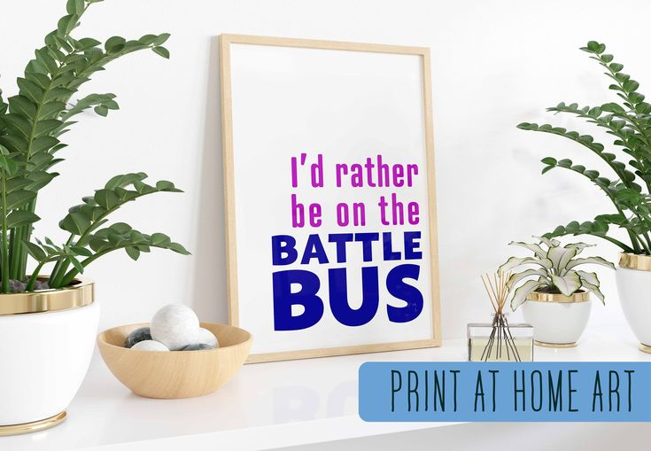 Fortnite INSPIRED Wall Art, I'd Rather Be on the Battle Bus, Gamer Room Decor, Video Game Decor, Video Game Art, Gamer Den, Fortnite Room