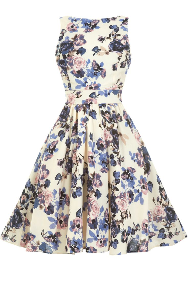 Vintage Lavender Floral Tea Dress : Lady Vintage