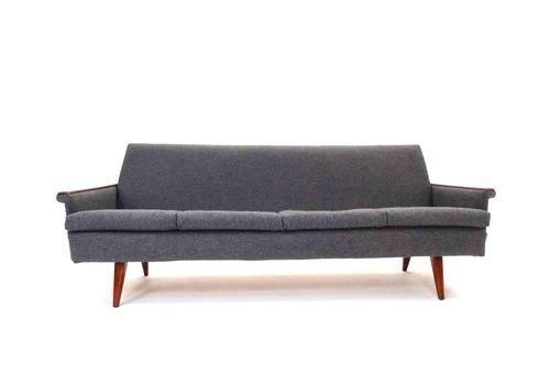 Norwegian Charcoal Grey Wool & Teak 3 Seater Sofa Reupholstered Midcentury 1960s | vinterior.co