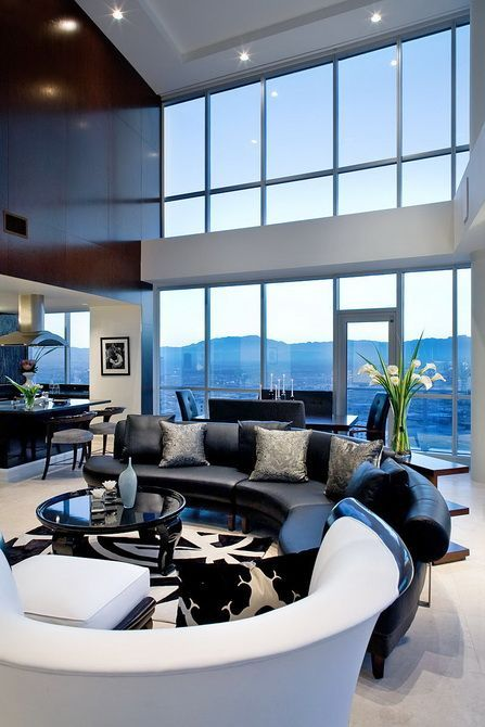 Love the windows, the black and white and the ceiling height!