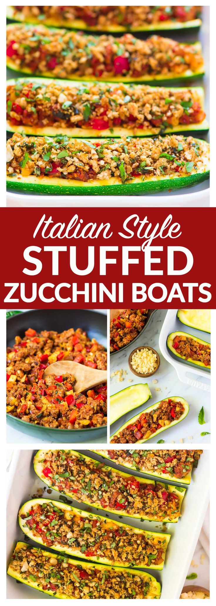 Healthy Italian Stuffed Zucchini Boats – low carb baked zucchini boats stuffed with lean ground turkey sausage, tomatoes, and topped with crispy basil breadcrumbs. An easy, healthy, all-in-one dinner that your whole family will love! Recipe at wellplated.com | @wellplated