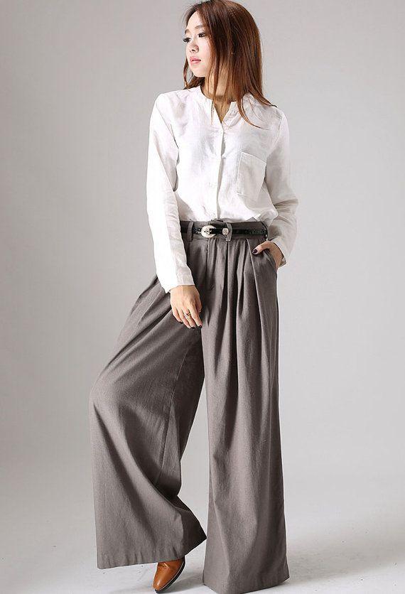 Wide leg broek  vrouwen lange linnen broek met geplooide