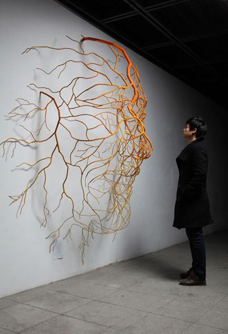 metallic sculptures depicting human root systems by Kim Sun Hyuk from his series Drawn by Life