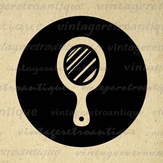 Hand Mirror Graphic Printable Download Barber Salon Icon