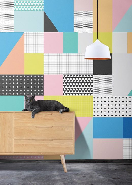 Happy colorful graphic wallpaper in funny and trendy colours: Serenity, Rose Quartz, Peach Echo, Buttercup and Limpet Shell