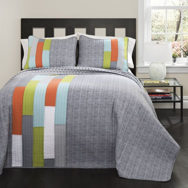 Twin Size Boys Quilt Bedspread Bedding Stripped Teen Bedroom Cotton New
