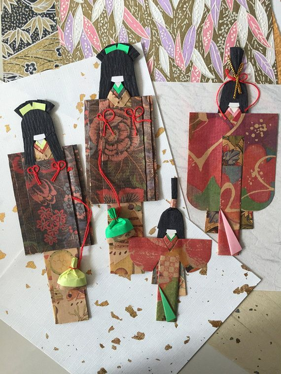 Handmade Kimono Dolls Set Of 4 Mother Daughter Twin Sister
