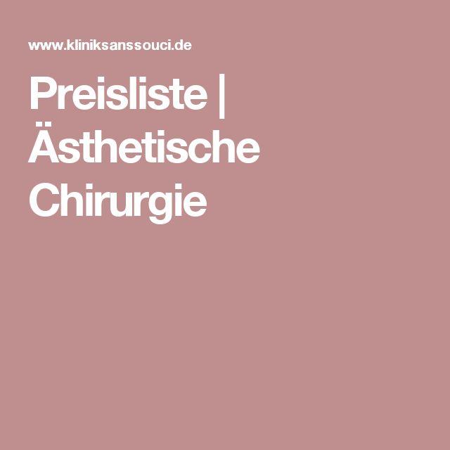 Preisliste | Ästhetische Chirurgie