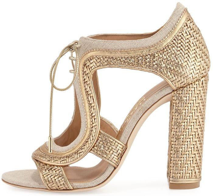 Salvatore Ferragamo 'Edith' Twist Woven Lace-Up Sandals