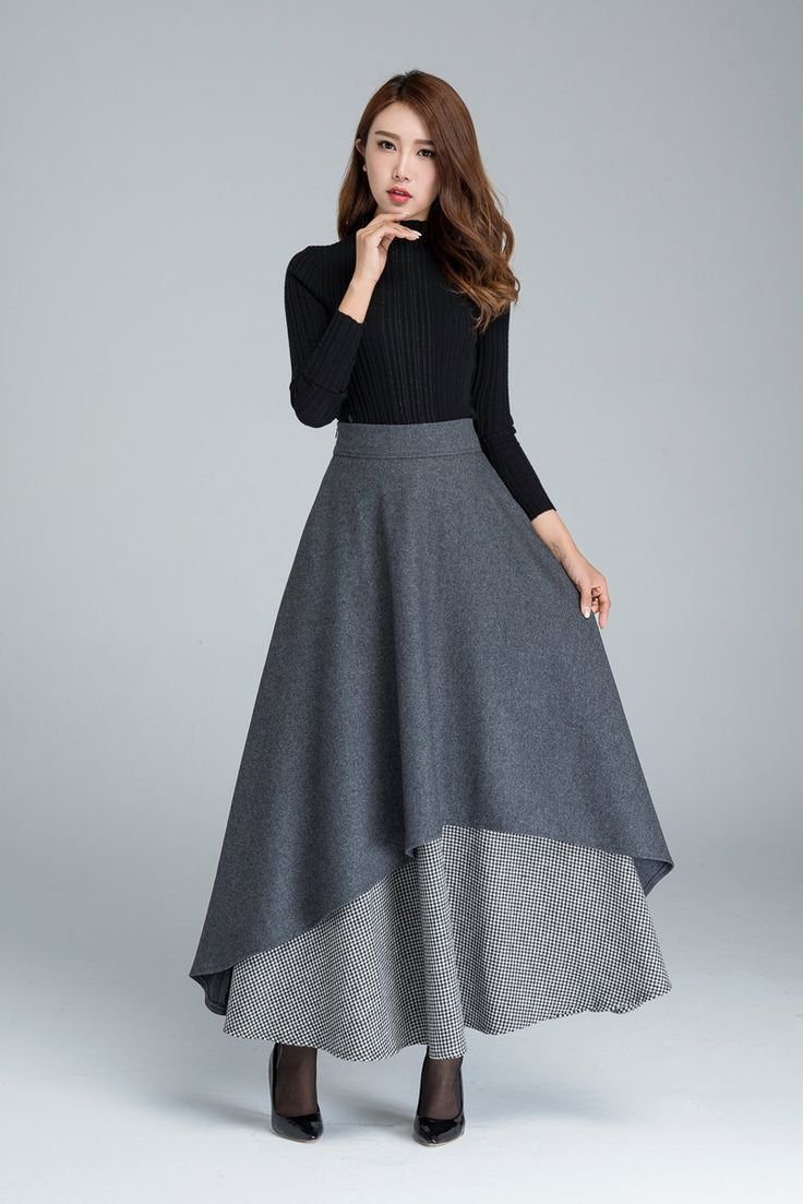 Falda gris oscurezca falda larga falda de invierno cálido