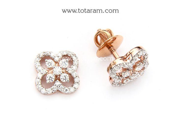18K Rose Gold Polish Diamond Earrings
