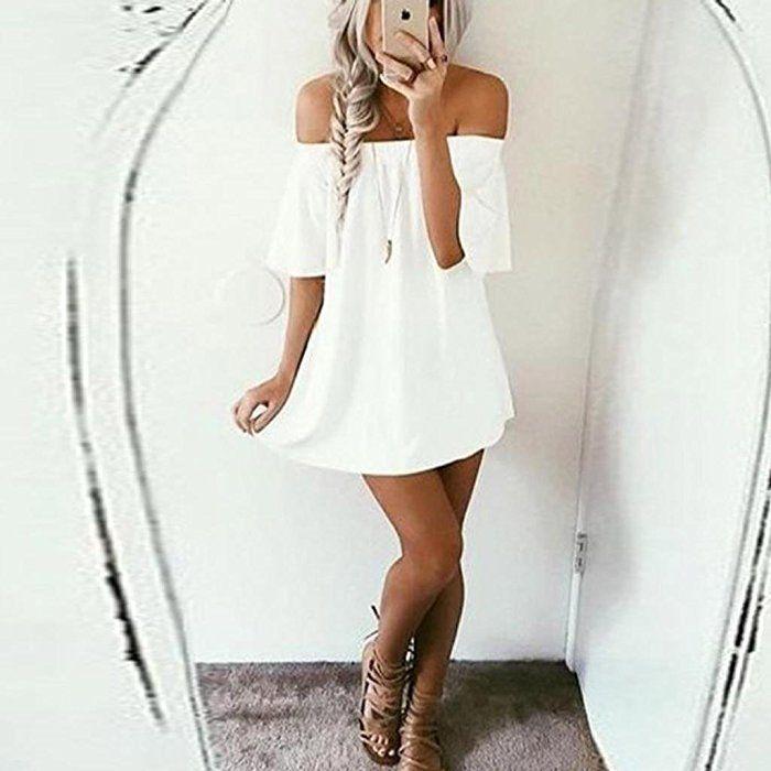 Irina007 Mujer Jersey Camiseta Vestido De Hombro Vestido Casual (Small, Blanco)