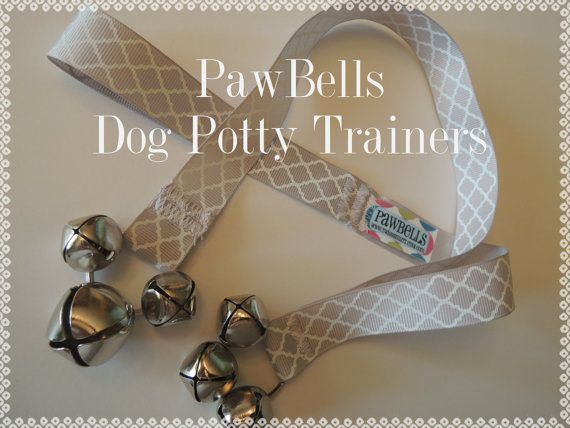 Paw Bells, Dog Potty Trainer, In Grey Quatrefoil, Instructions Included