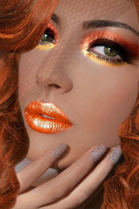 .: Face, Make Up, Color, Orange Makeup, Orange Lips, Beauty, Hair, Eye