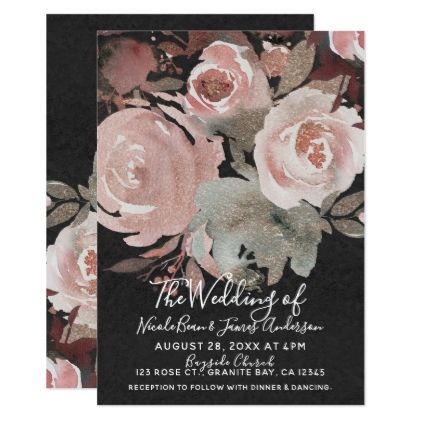 Pink Rose Glitter Roses Dark Floral Glam Wedding Card - spring gifts beautiful diy spring time new year