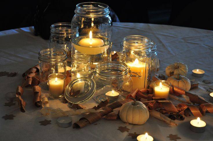 Different Size Mason Jars Spaghetti Sauce Mini White Pumpkins Wood Curls And Tealights For Fall Wedding Centerpieces
