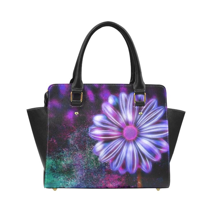 Purple glowing flower with abstract background Classic Shoulder Handbag by Tracey Lee Art Designs