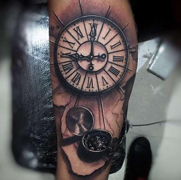 Compass & Clock Tattoo by Miami Tattoo