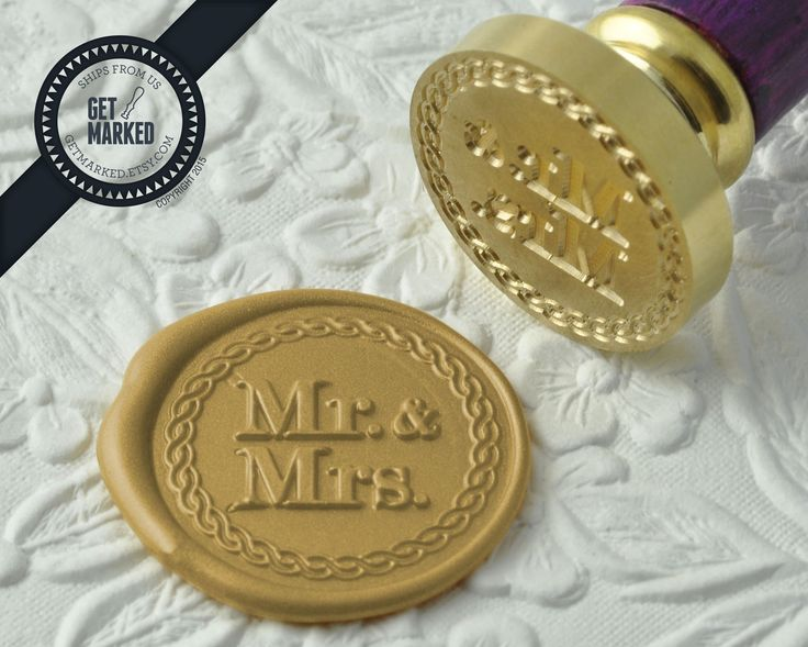 Mr. & Mrs. - Wax Seal Stamp by Get Marked - Wedding Collection (WS0188).  The stamp is ideal for wedding, engagement party and bridal shower invitations. #GetMarked, #waxsealstamp, #waxseal, #wax, #wedding, #invitation