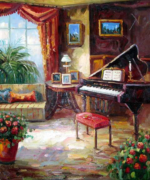 Piano by the Window - Original Oil Painting Artist: Unknown  Size: 24 High x 20 Wide Canvas  Hand-painted, original oil painting onunstretchedcanvas.