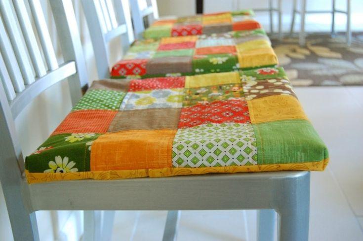 se faire des galettes de chaise originales et multicolores patchwork