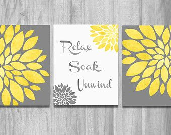 bathroom wall art set prints vintage modern relax soak unwind flower prints home decor yellow gray - Yellow Decor