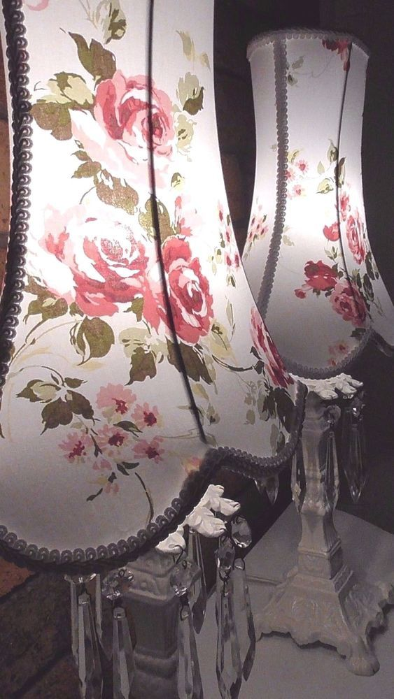 PAIR OF RACHEL ASHWELL FLORAL SOMERSET FABRIC LAMPSHADES SHABBY CHIC TABLE LAMP  #ASHLEYCOOPERCREATIONS