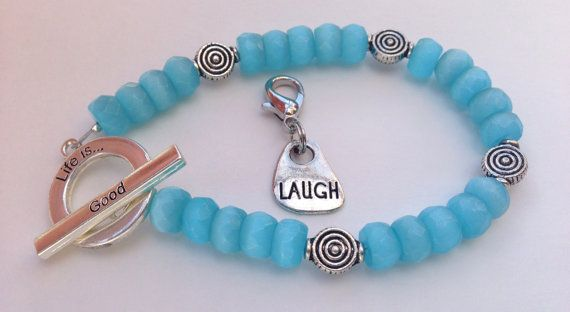 Another fun bracelet! Calorie Tracker Bracelet for Weight Loss Life Is Good by Stolenhook, $22.00