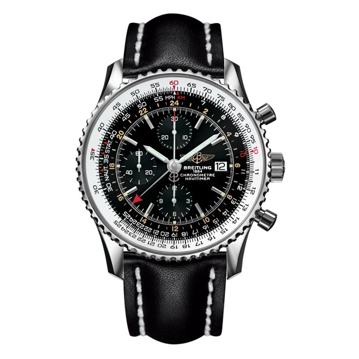 Men's Breitling Navitimer World stainless steel watch. A slick mechanical stainless steel watch with date at 3 o'clock position on watch face. Every bit a gentleman's watch! Please note Dial Colours May Vary. Watch Diameter 46mm. Water resistant to 30 metres. A2432212/B726