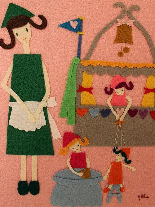 Handmade Felt Art Playful Cheerful Children Mother Toys by Gaoui