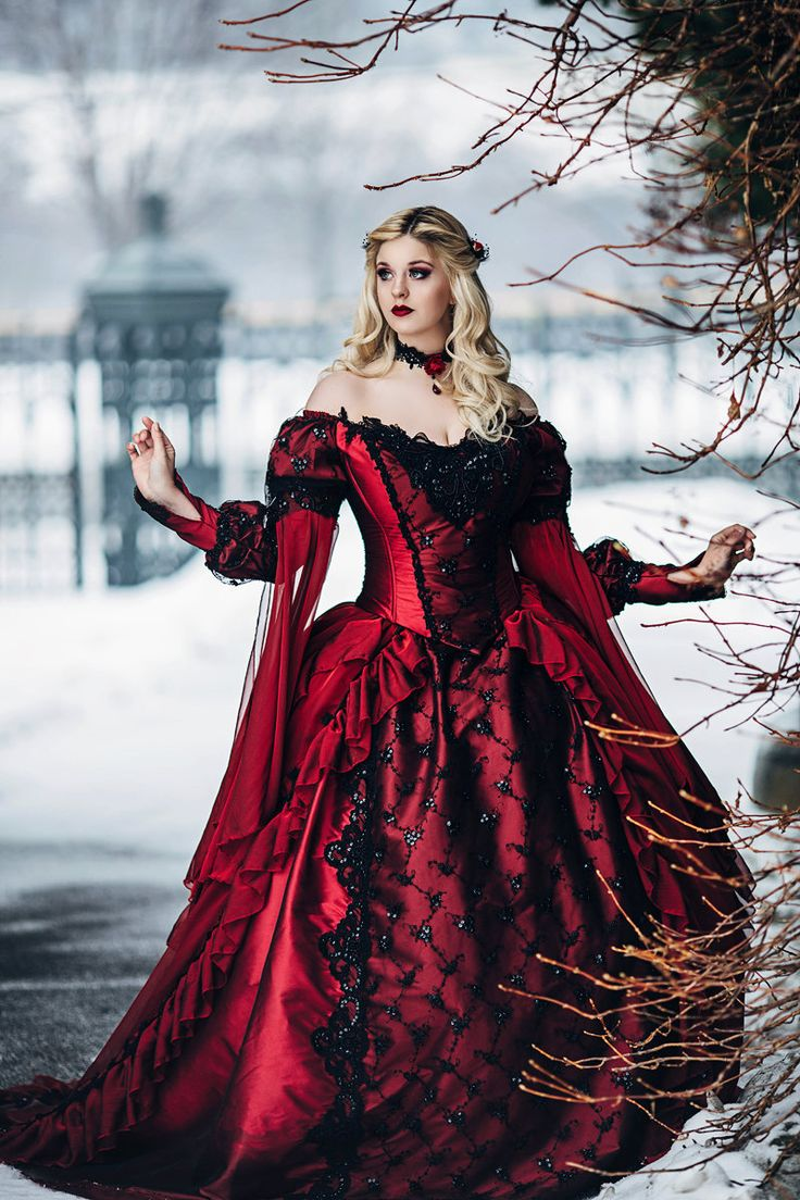 Gothic Sleeping Beauty Medieval Princess Gown Use coupon code Turkey10 for 10% off any in-stock or custom gown this week! This gown is really gorgeous! New red/black shots by Bernadette Newberry Photography, model Stacey Smith. This listing includes a matching chiffon trimmed cape.