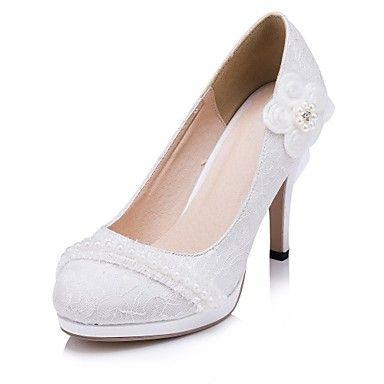 damesschoenen ronde neus naaldhak kant hielen met bloem trouwschoenen meer kleuren beschikbaar - EUR € 40.90
