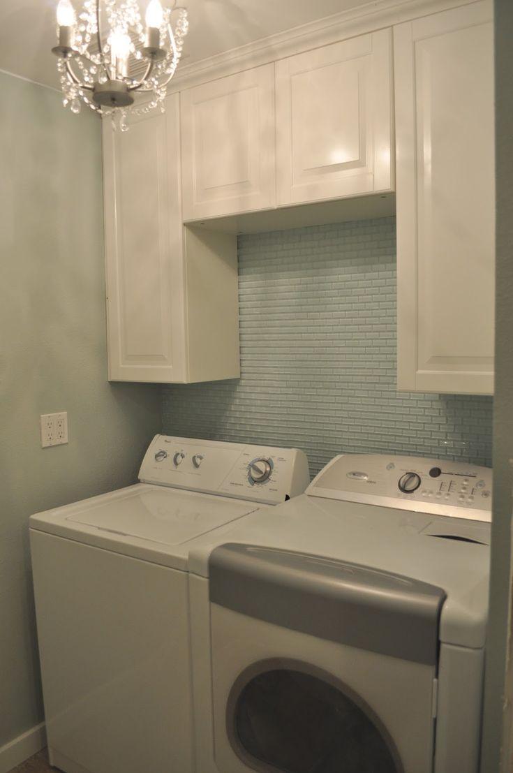 Mini White Glass Subway Tile In Laundry Room Found At Httpswwwsubwaytileoutletcom Wall