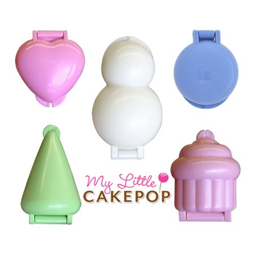 The complete set of no-bake cake pop molds from My Little Cakepop.  Heart, Cone, Snowman, Round and Cupcake.