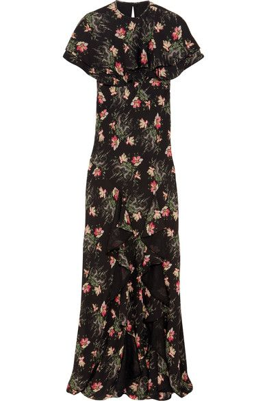 Vilshenko - Bella Cape-effect Printed Silk-georgette Maxi Dress - Black - UK