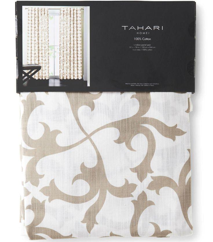 Tahari Home Scrolls Window Panels 52 by 96-inch Set of 2 Floral Scrolls Lattice Window Curtains Hidden Tabs (Beige)