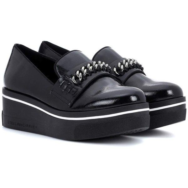 Stella McCartney Faux-Leather Slip-on Sneakers (3,430 CNY) ❤ liked on Polyvore featuring shoes, sneakers, black, vegan sneakers, black slip on shoes, slip-on sneakers, black shoes and slip on trainers