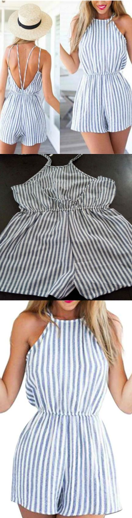 Striped Backless Playsuit! Click The Image To Buy It Now or Tag Someone You Want To Buy This For. #StripedPlaysuit